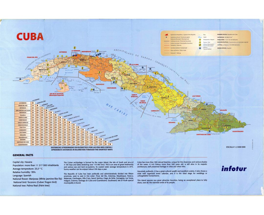 Large detailed tourist map of Cuba with administrative divisions, roads, cities, ports, airports and other marks