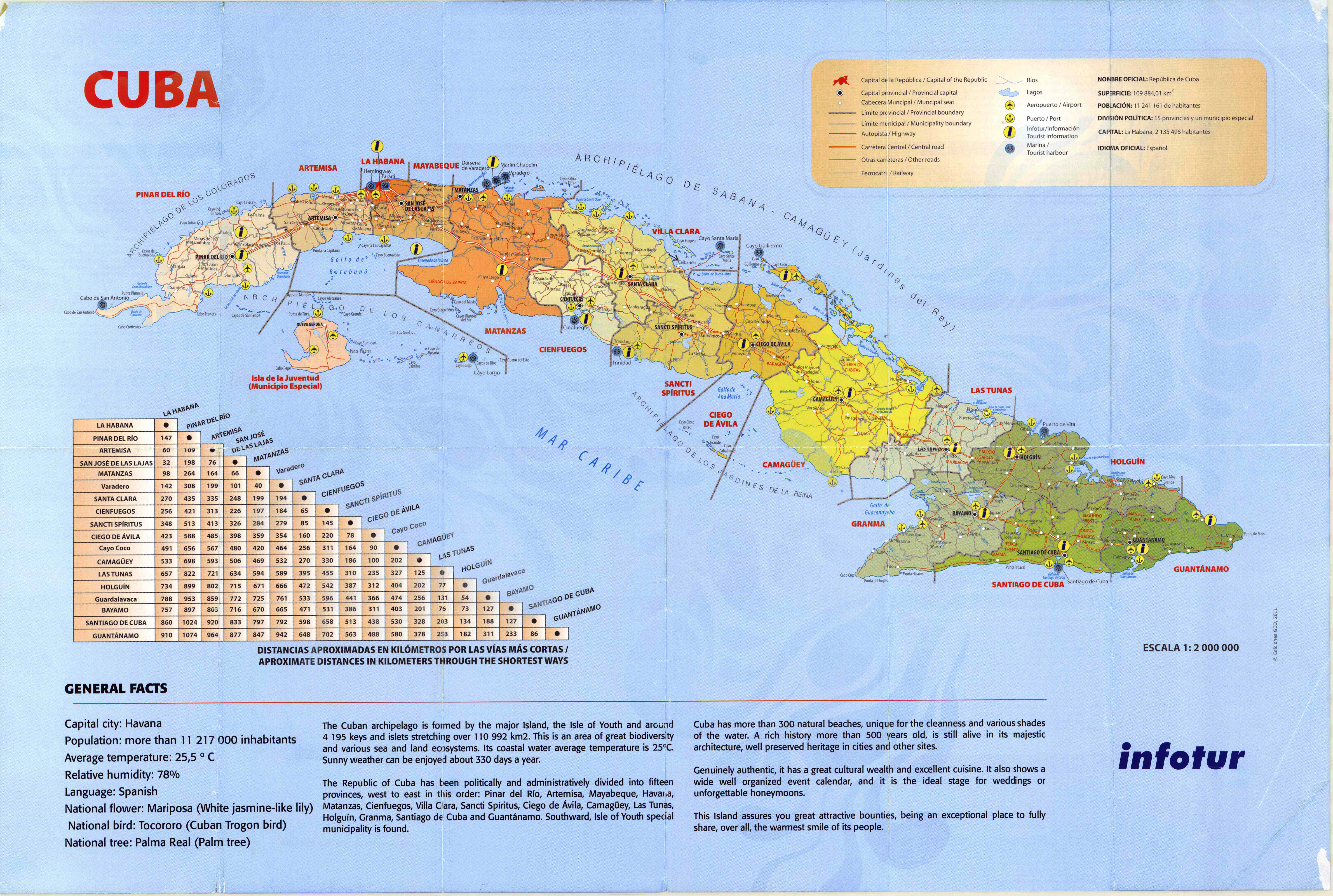 Large detailed tourist map of Cuba with administrative divisions