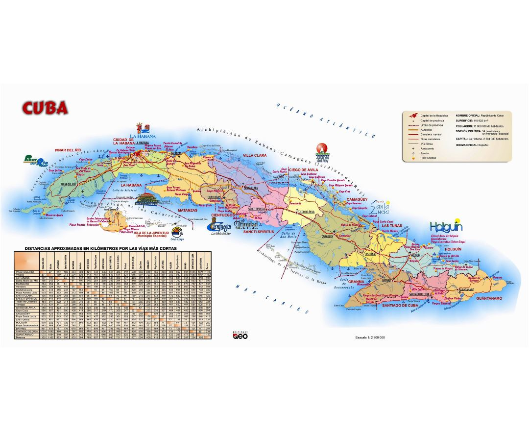 Large detailed tourist map of Cuba with other marks