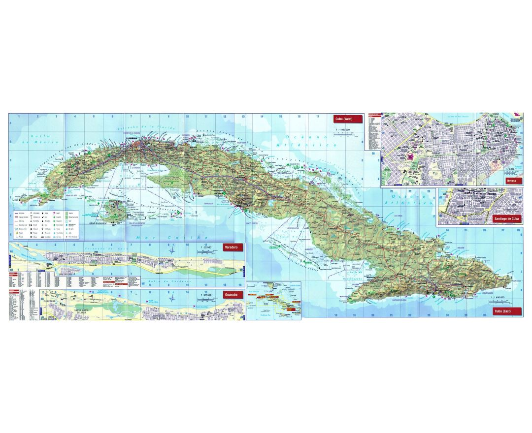 Large detailed tourist map of Cuba with relief, roads, cities, airports and other marks