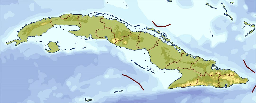 Large elevation map of Cuba