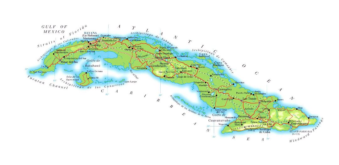 Large elevation map of Cuba with roads, railroads, major cities and airports