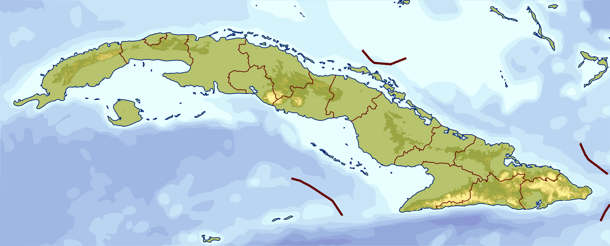 Large elevation map of Cuba | Cuba | North America | Mapsland