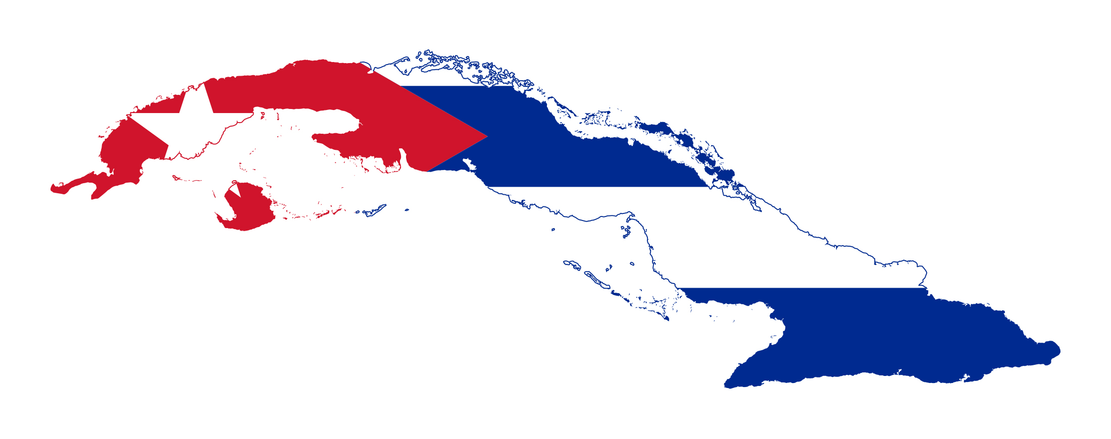 Large Flag Map Of Cuba
