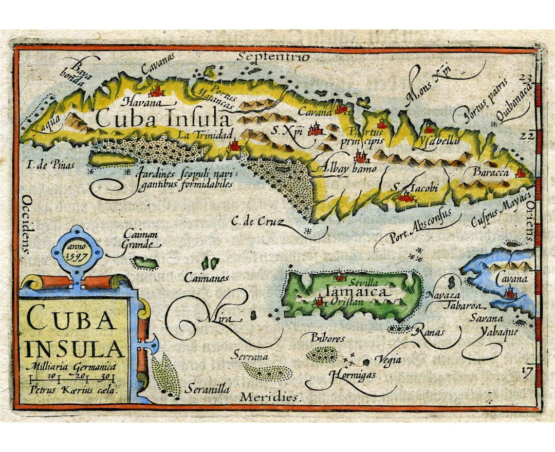 Large old map of Cuba