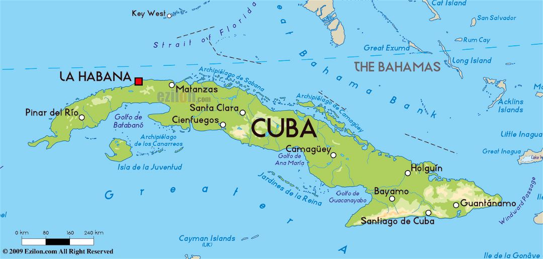 Large physical map of Cuba with major cities