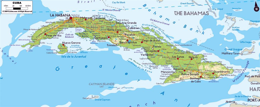 Large physical map of Cuba with roads, cities and airports