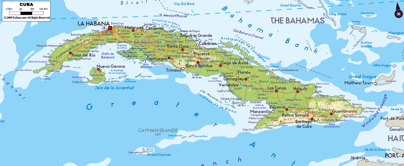 Large physical map of Cuba with roads cities and airports Cuba