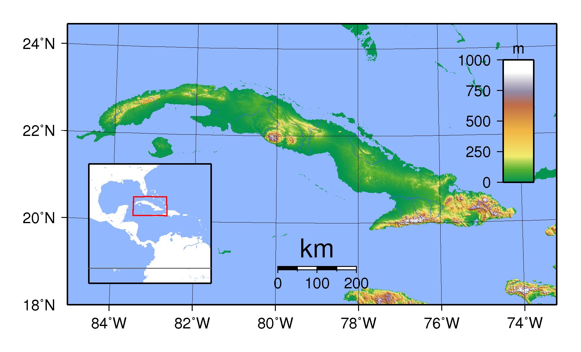 Large physical map of Cuba Cuba North America Mapsland Maps