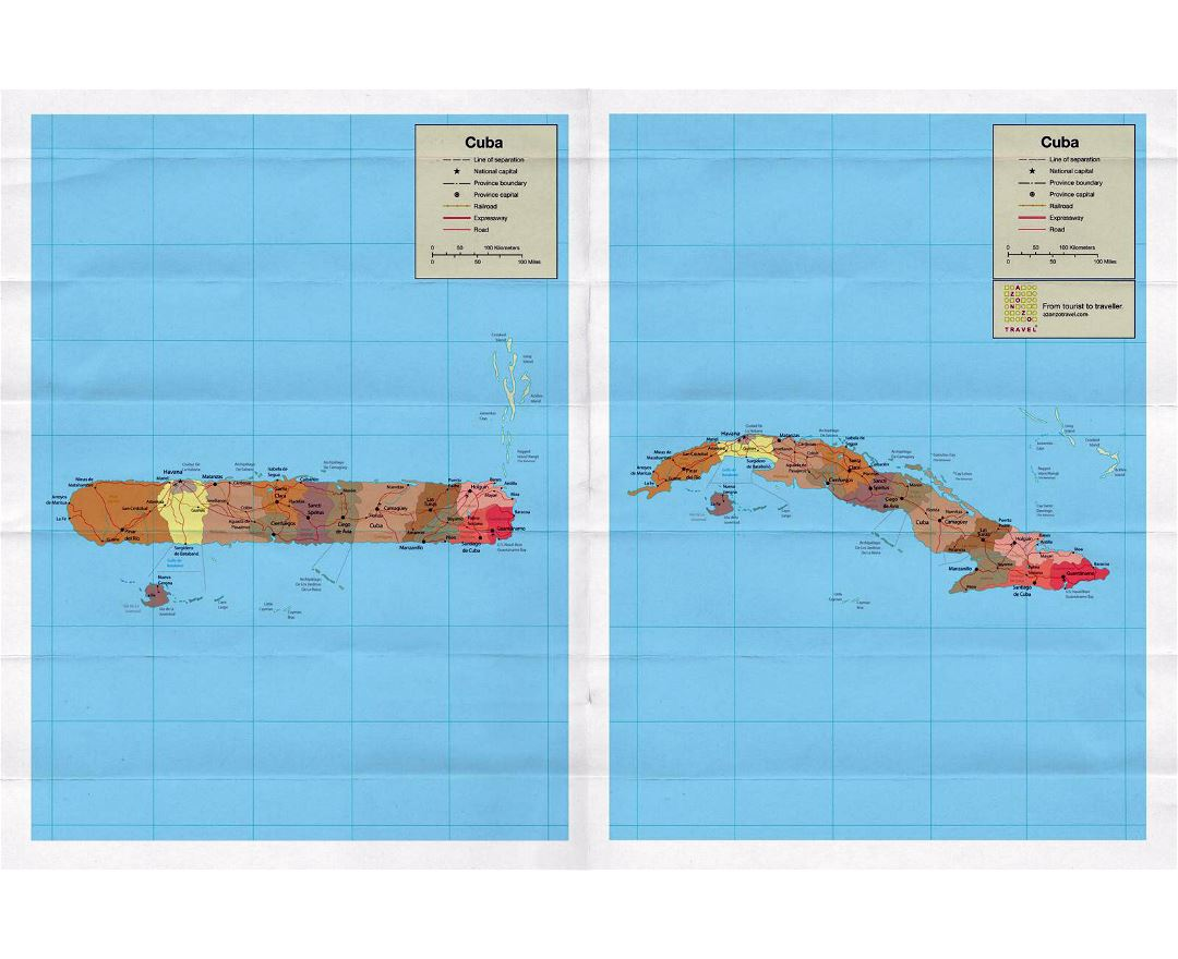 Large political and administrative map of Cuba
