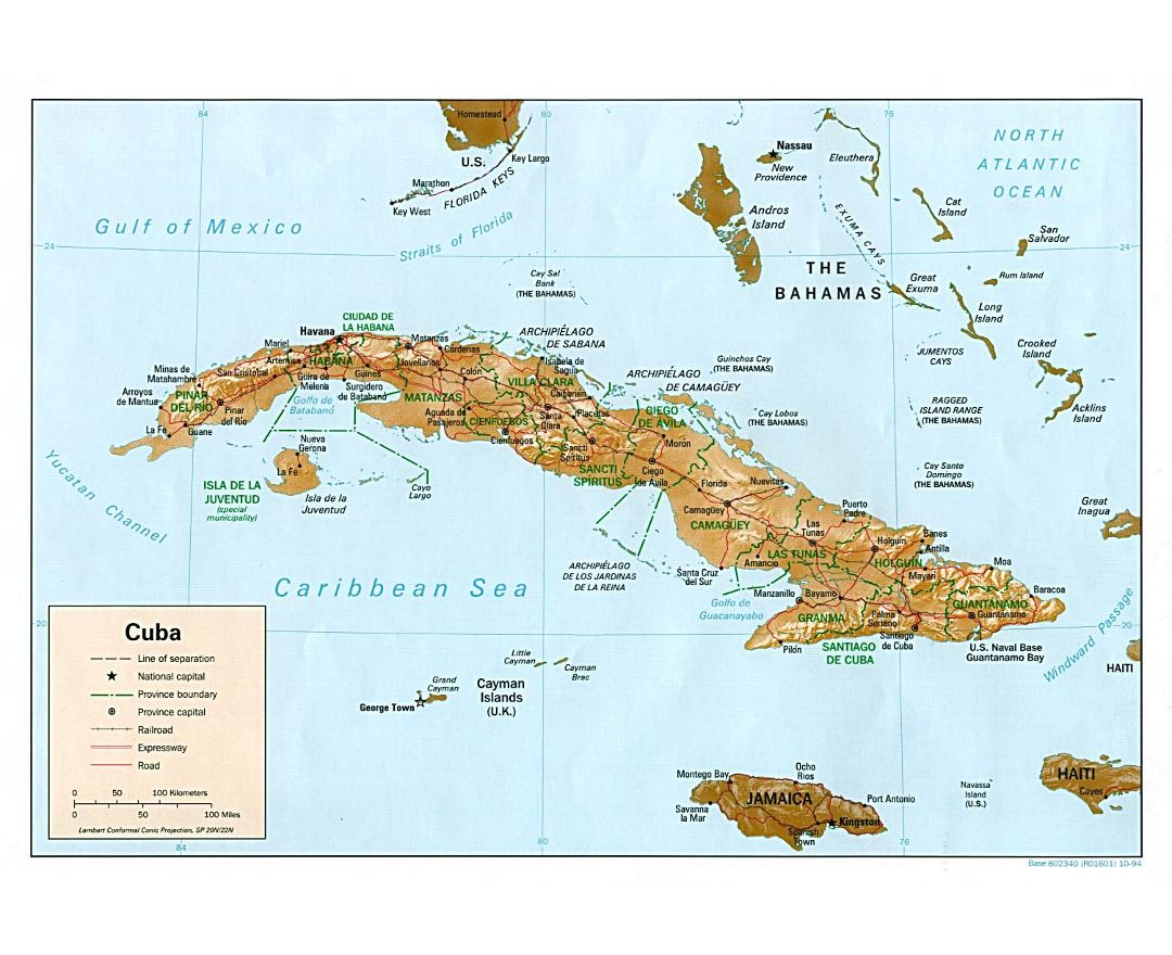 Large political and administrative map of Cuba with relief, roads, railroads and major cities - 1994