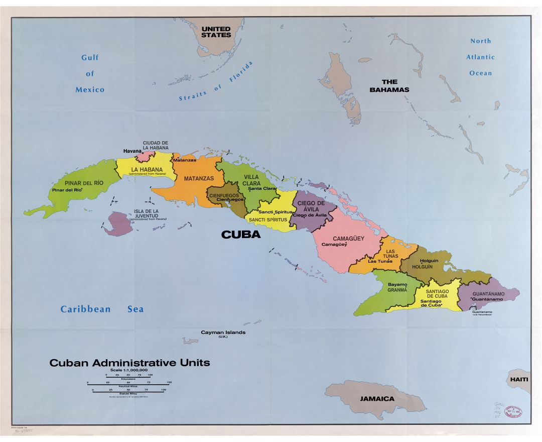 Large scale detailed map of Cuban administrative units - 1986
