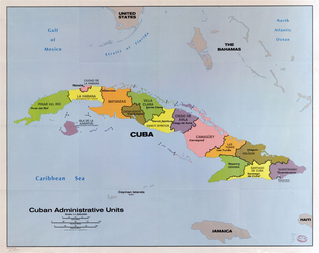 Large scale detailed map of Cuban administrative units 1986 Cuba