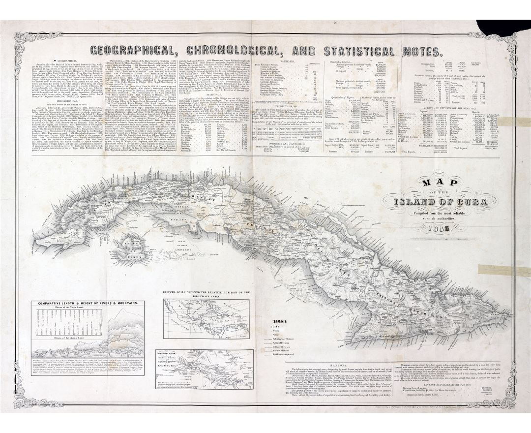 Large scale detailed old map of Cuba - 1855