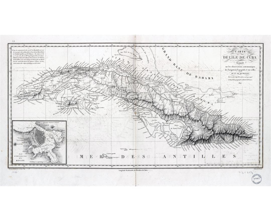 Large scale detailed old map of Cuba with relief - 1820