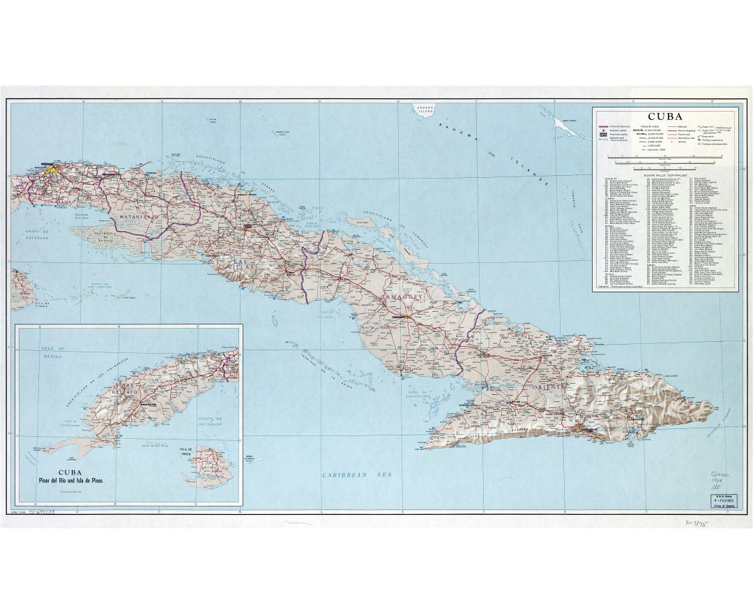 Large scale detailed road map of Cuba with other marks - 1964