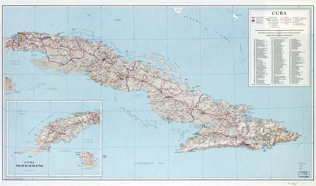 Large scale detailed road map of Cuba with other marks - 1964   Cuba ...