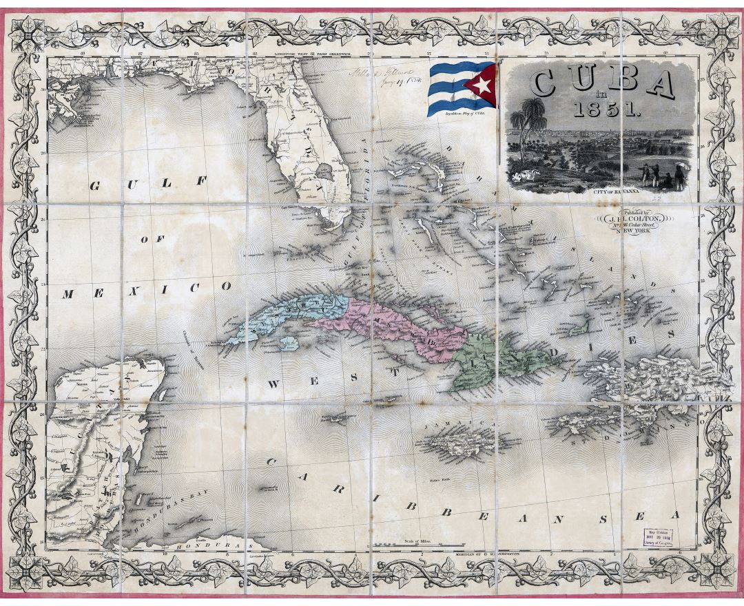 Large scale map of Cuba in 1851