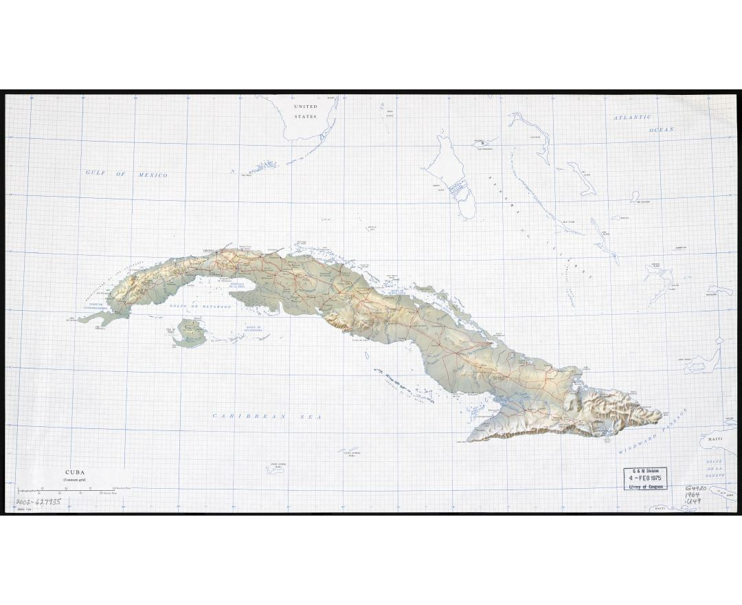 Large scale map of Cuba with relief, roads, railroads, cities and rivers - 1964