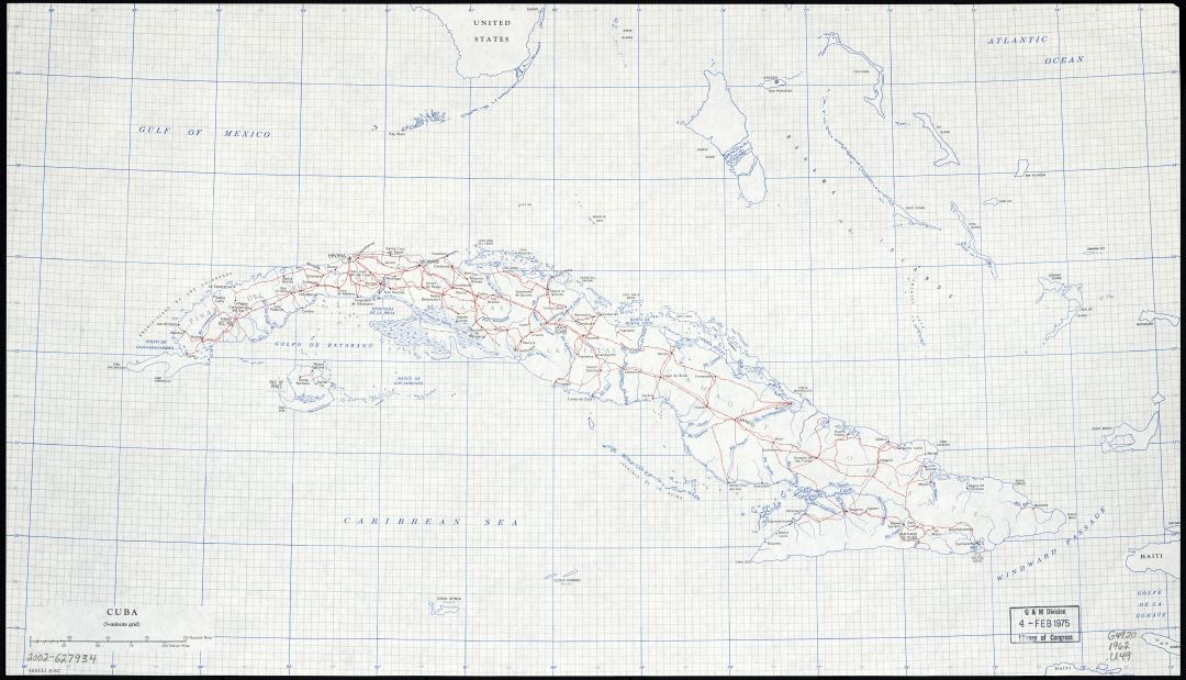 Large scale map of Cuba with roads, railroads, cities and rivers - 1962