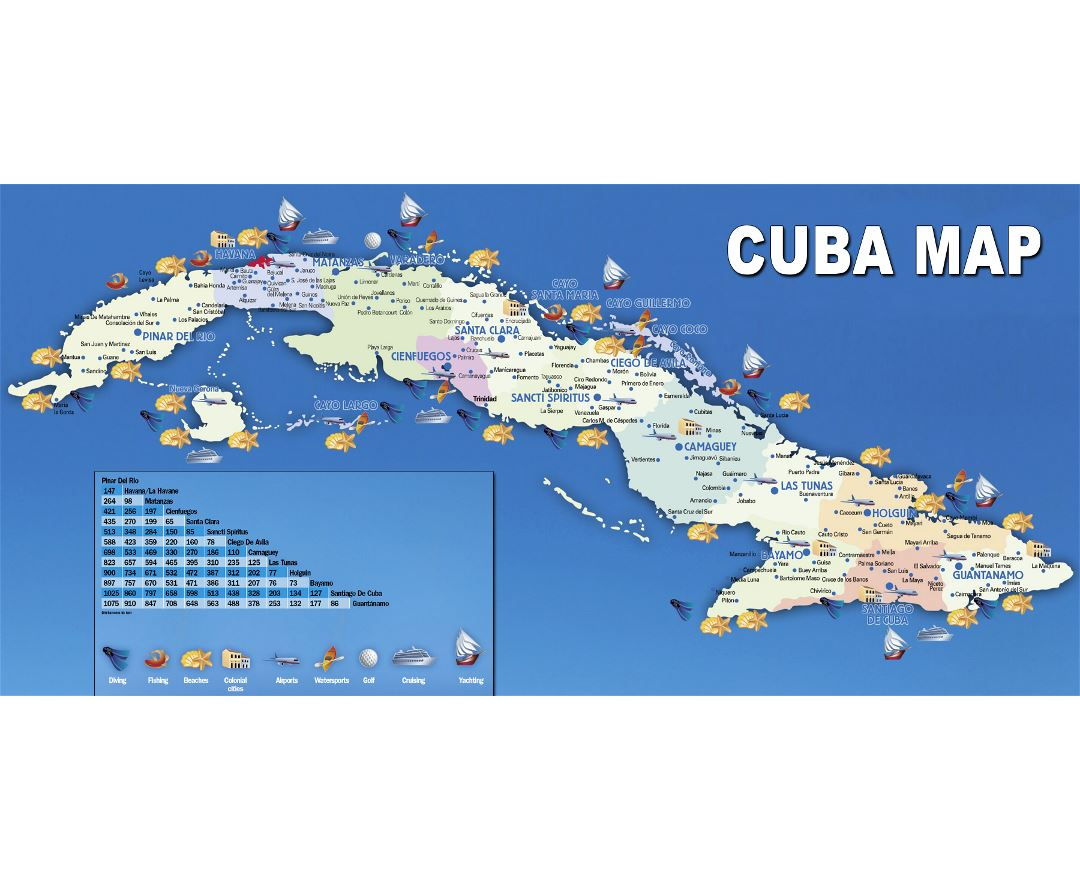 Large travel map of Cuba