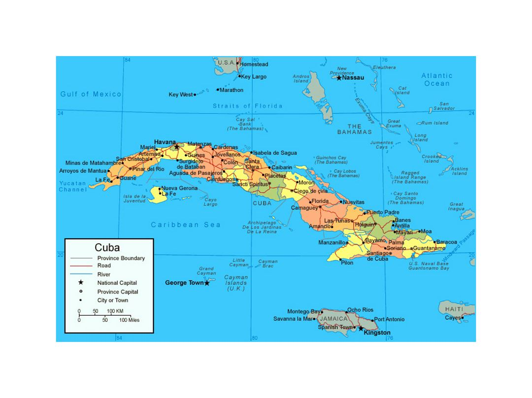 Political and administrative map of Cuba
