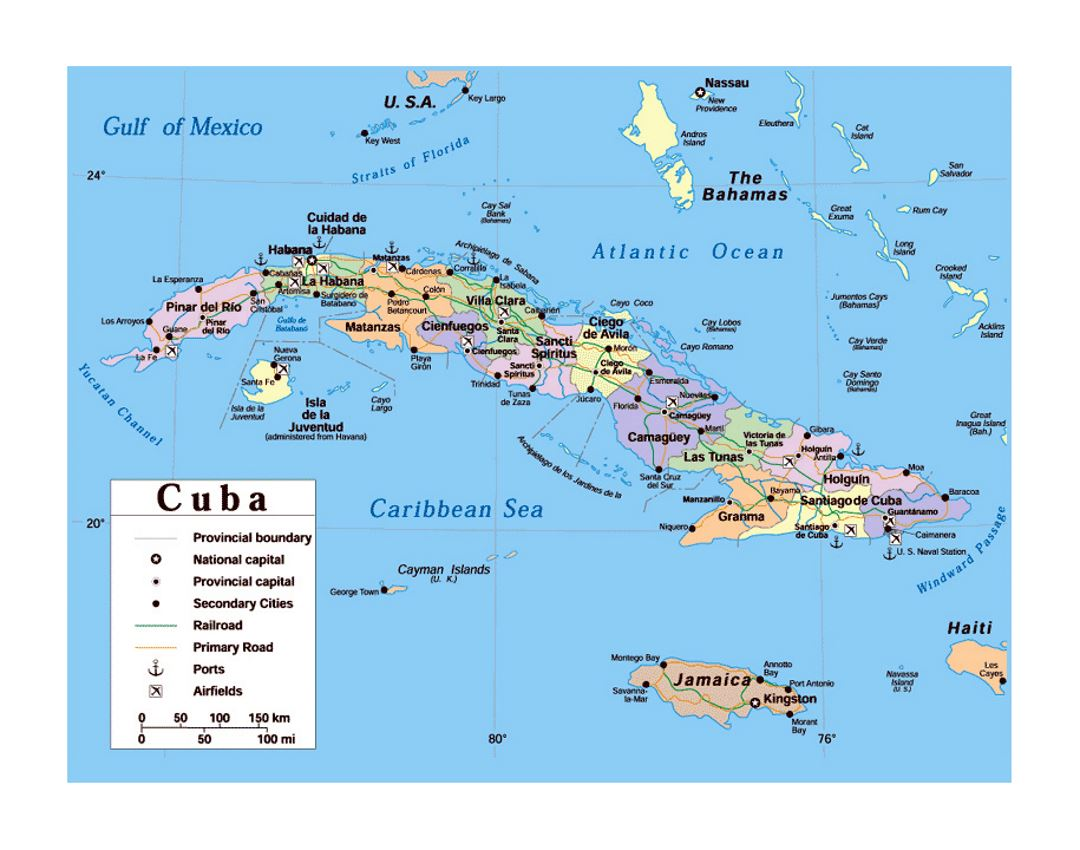 Political and administrative map of Cuba with roads, railroads, cities, ports and airports