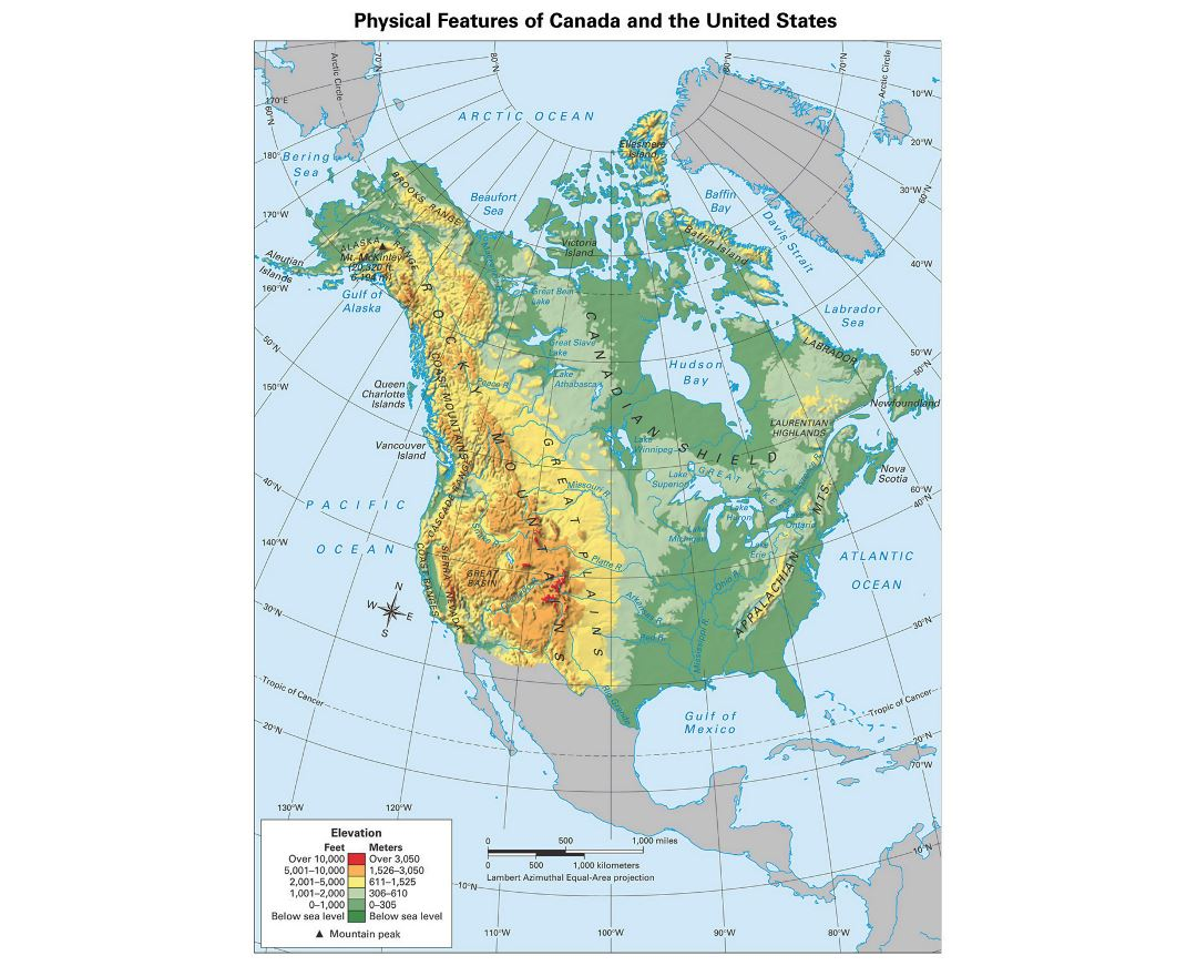 North America Physical Map Physical Map Of Canada Canada Map Our - Physical map usa and canada