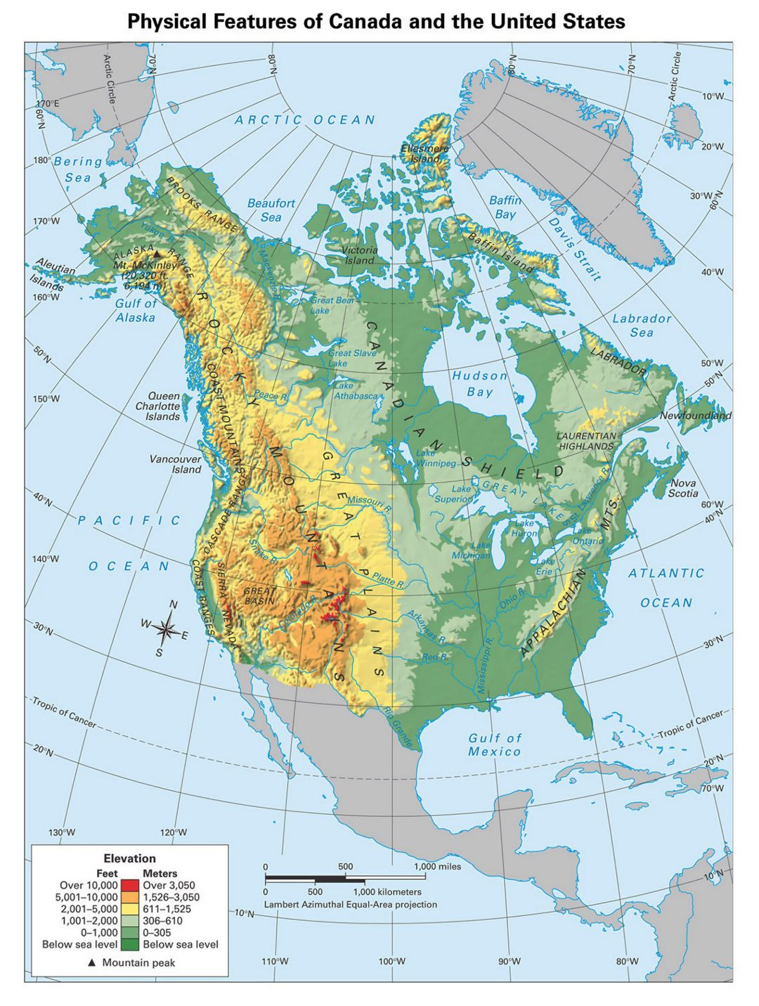 Detailed physical map of North America