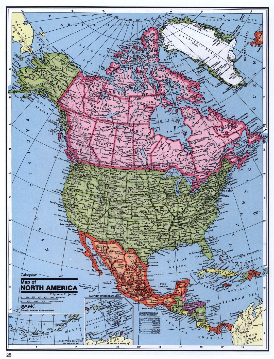 Detailed political map of North America