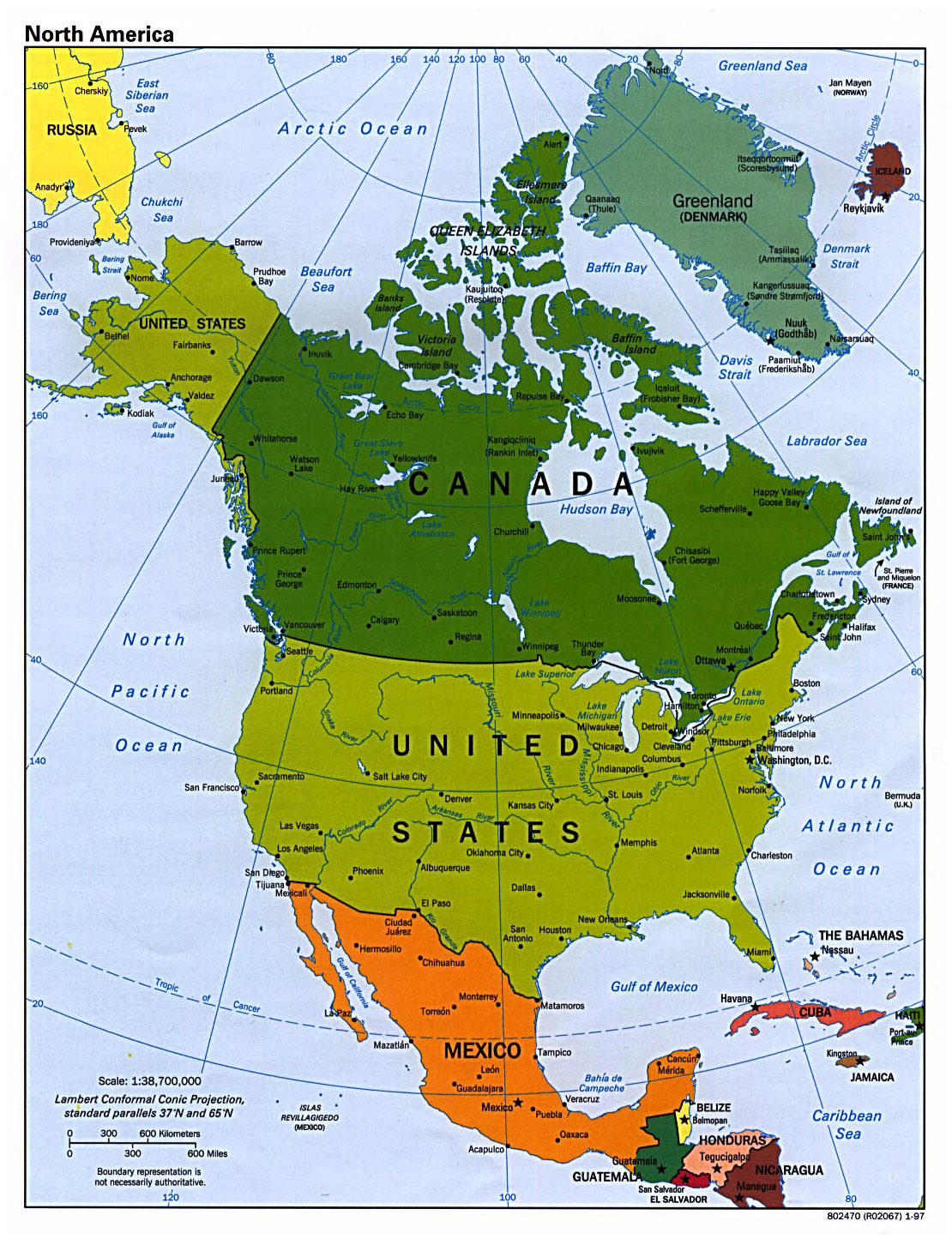 Detailed political map of North America with major cities 1997