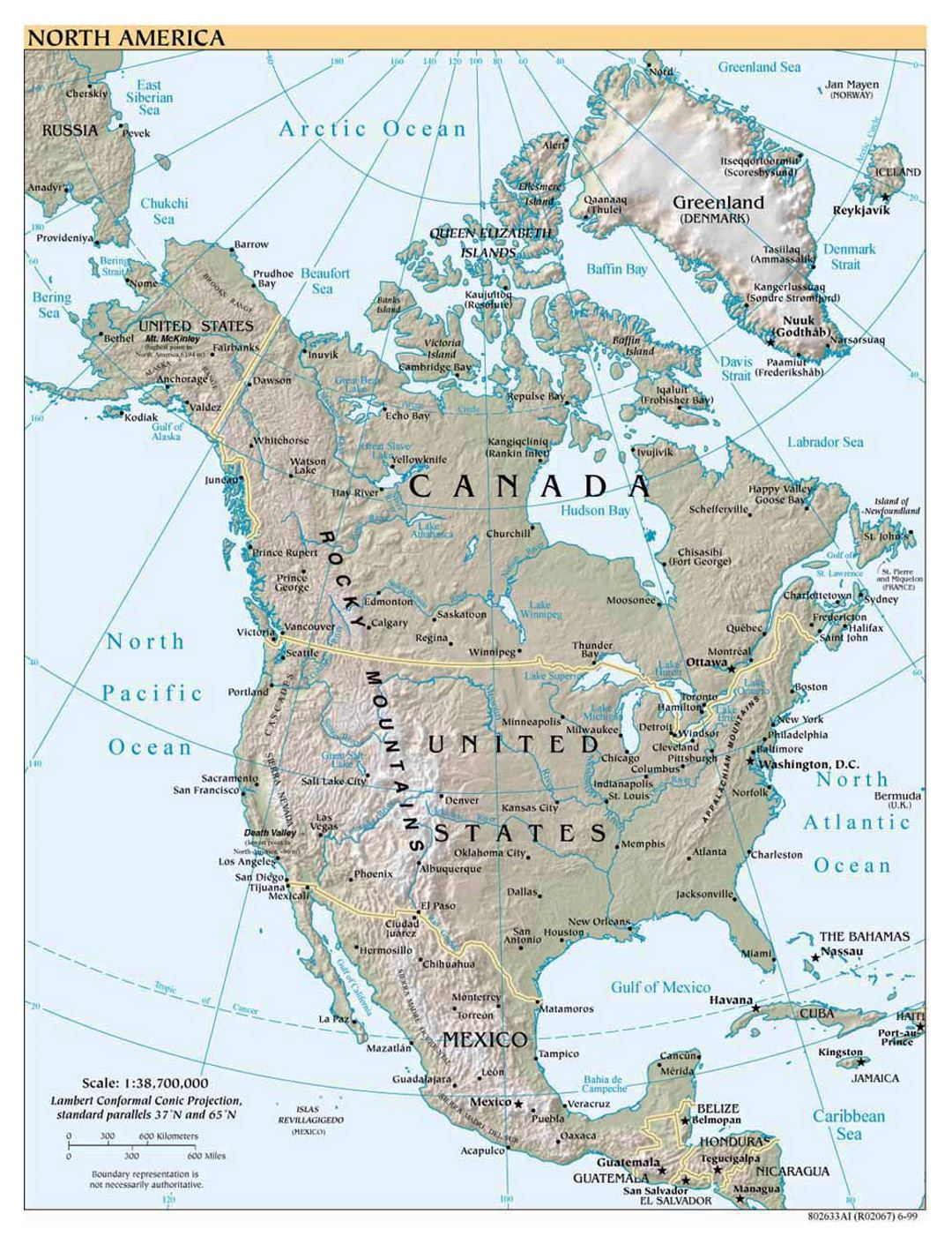 Detailed political map of North America with relief, cities and capitals - 1999