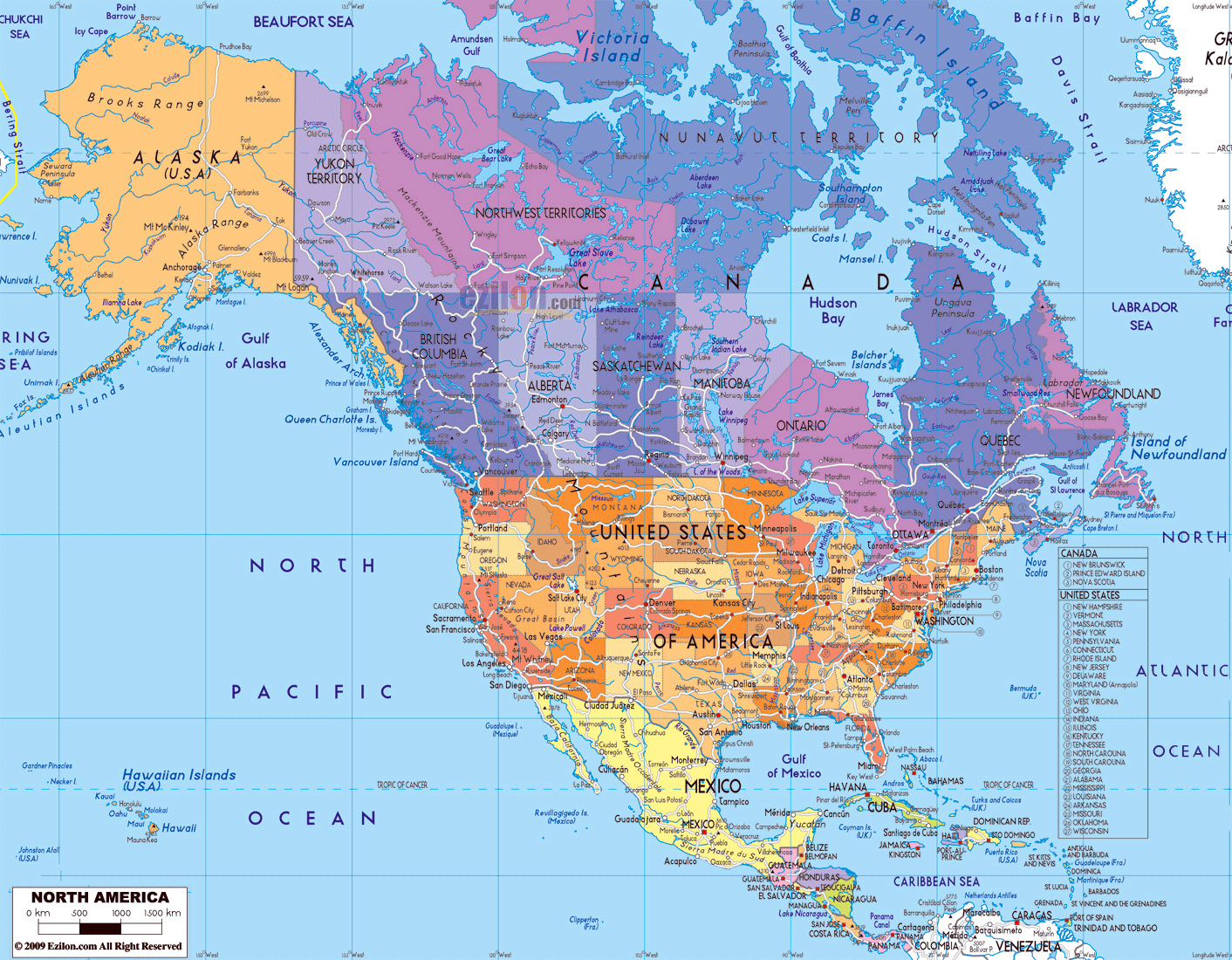 Detailed political map of North America with roads and major