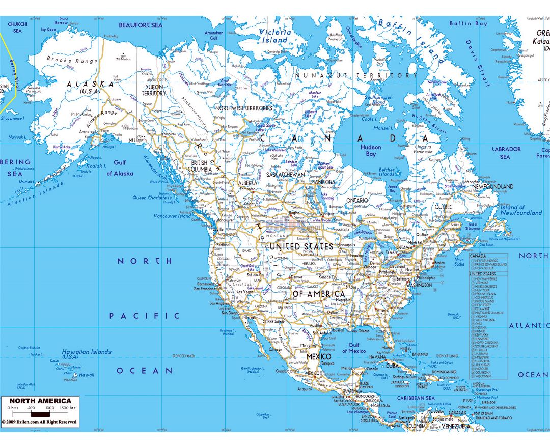 Detailed road map of North America wirh major cities