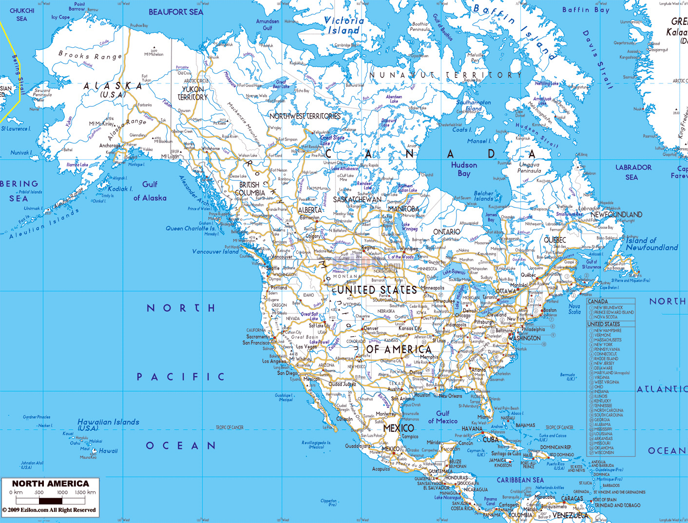Detailed road map of North America wirh major cities North America