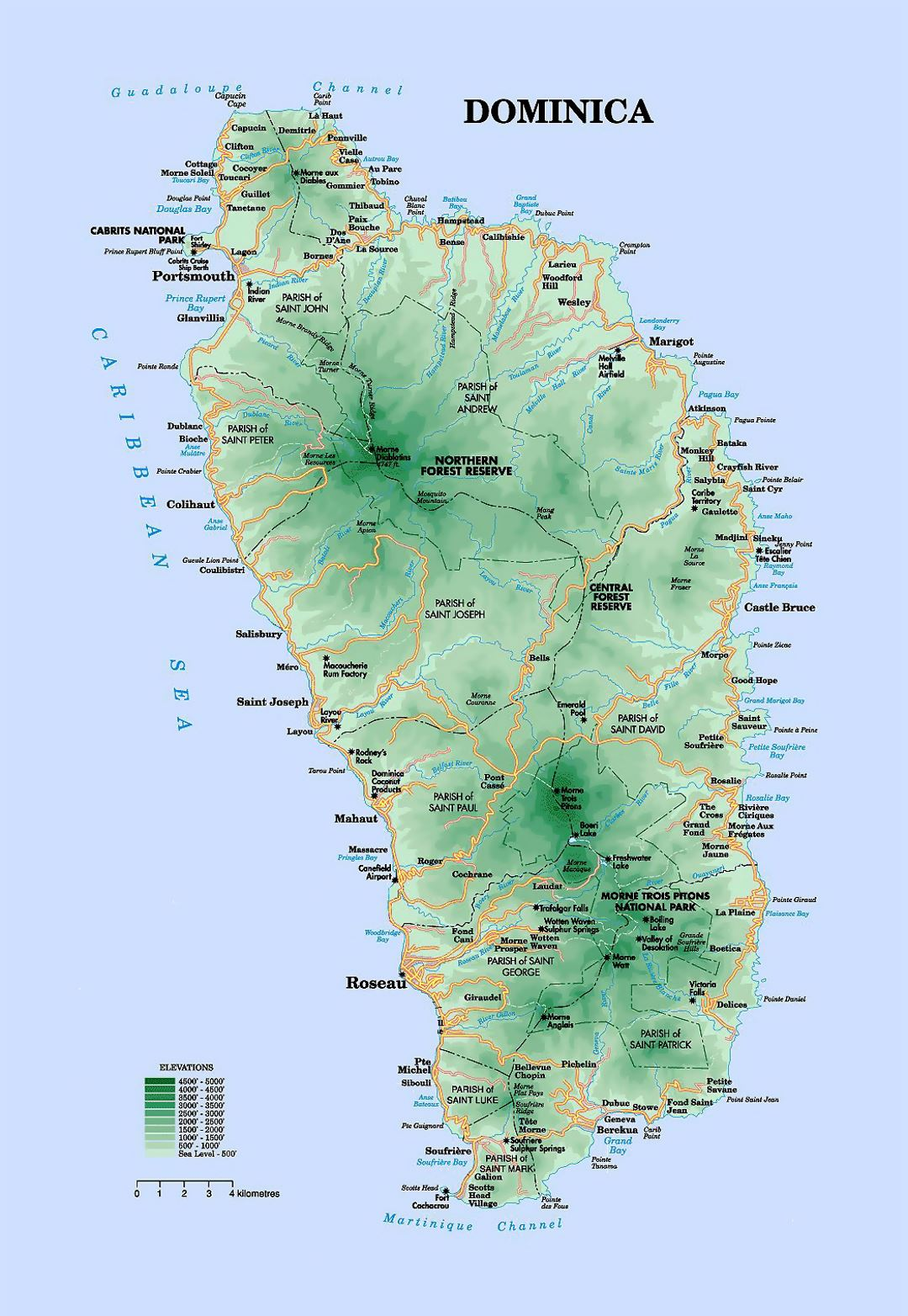 Detailed elevation map of Dominica with roads and cities Dominica