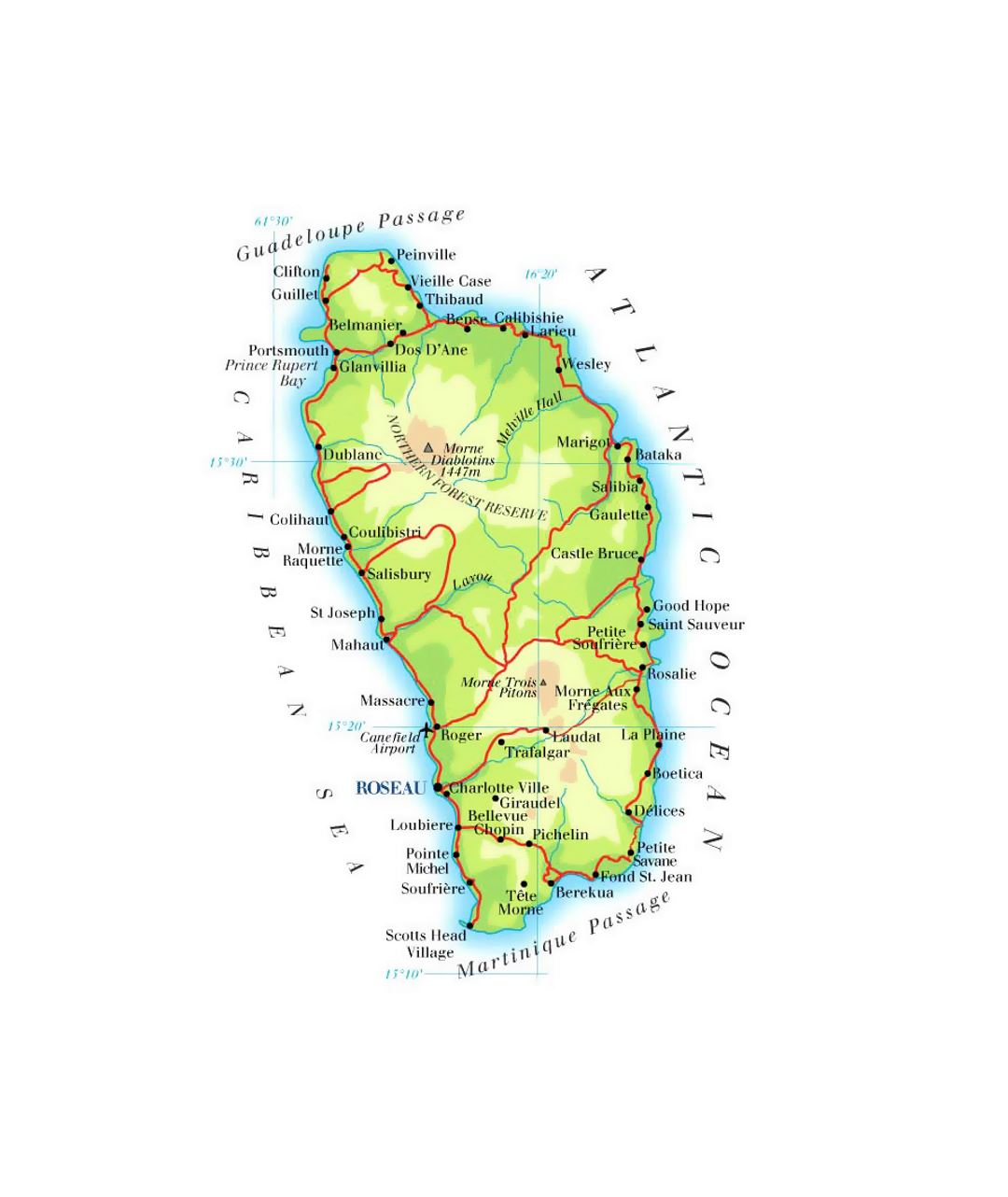 Detailed elevation map of Dominica with roads, cities and airports