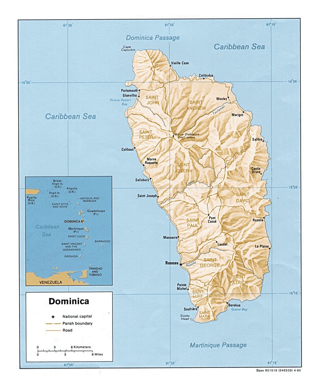 Detailed political and administrative map of Dominica with relief, roads and major cities - 1990