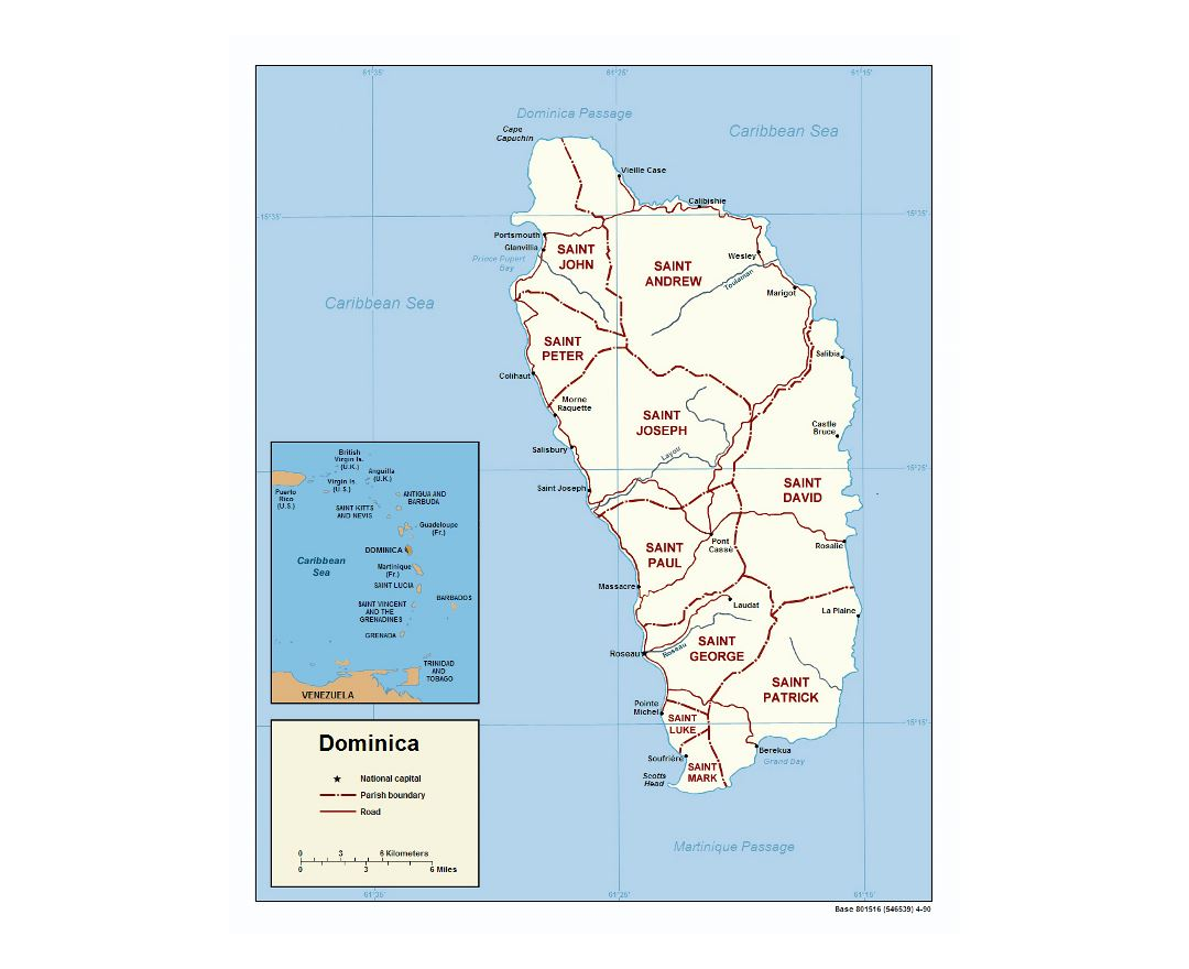 Detailed political and administrative map of Dominica with roads and major cities - 1990