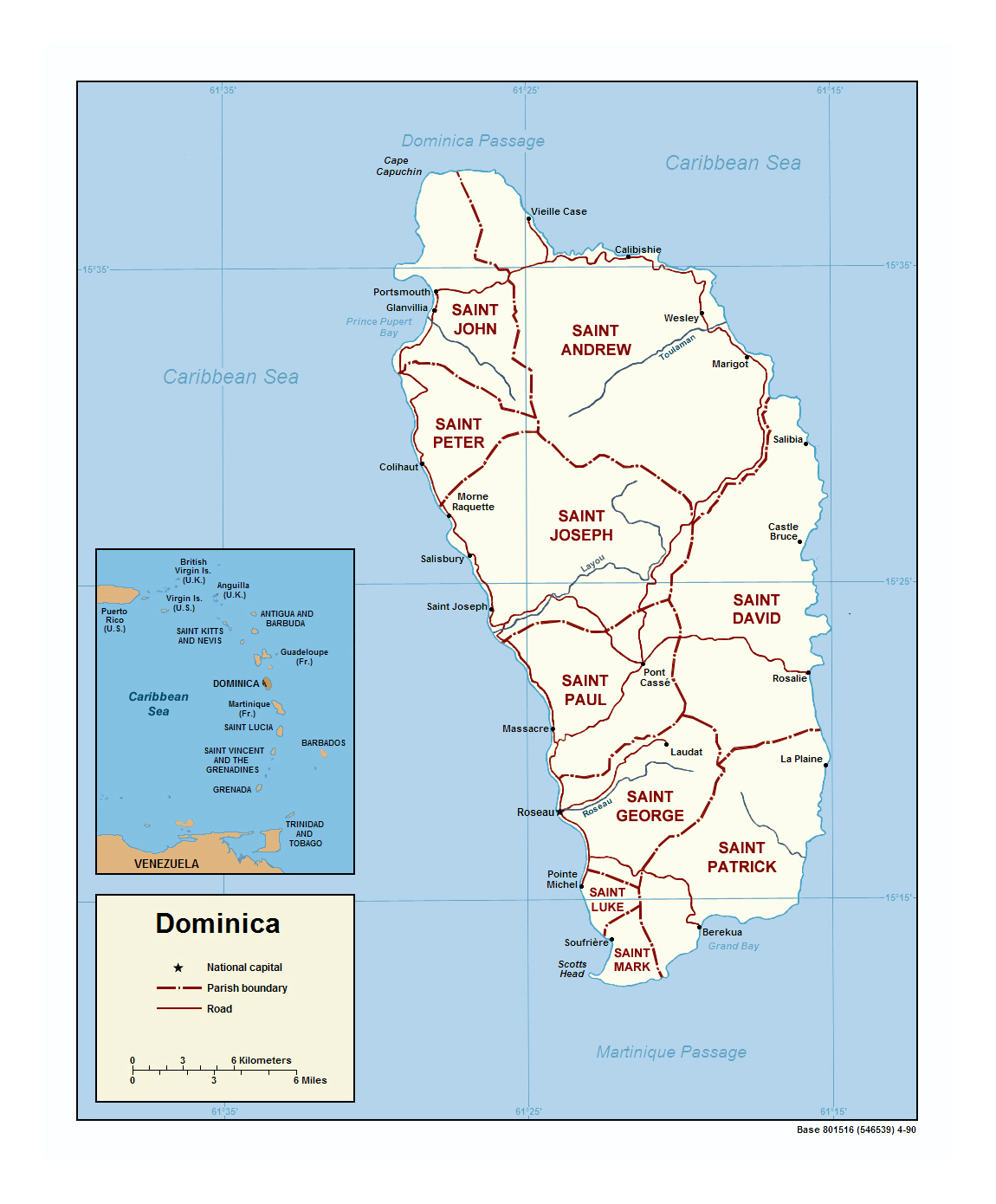 Detailed Political And Administrative Map Of Dominica With Roads - Dominica political map