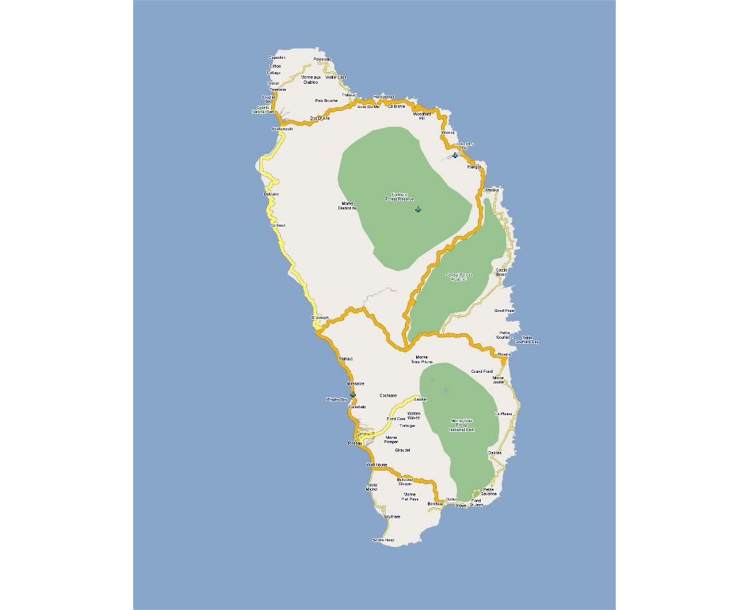 Detailed road map of Dominica