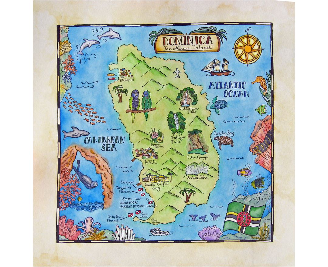 Detailed travel illustrated map of Dominica