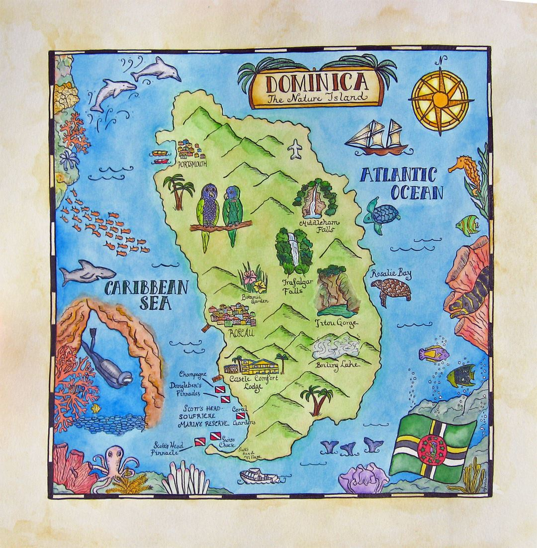 Detailed travel illustrated map of Dominica Dominica North