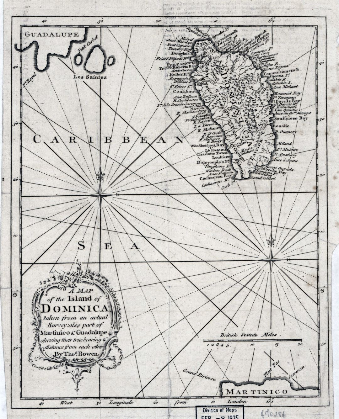 Large detailed old map of the Island of Dominica - 1778