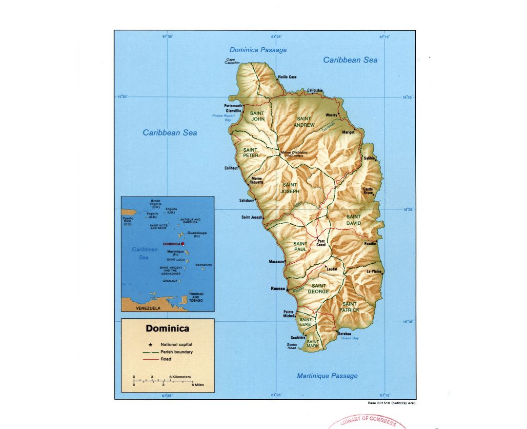 Large detailed political and administrative map of Dominica with relief, roads and major cities - 1990