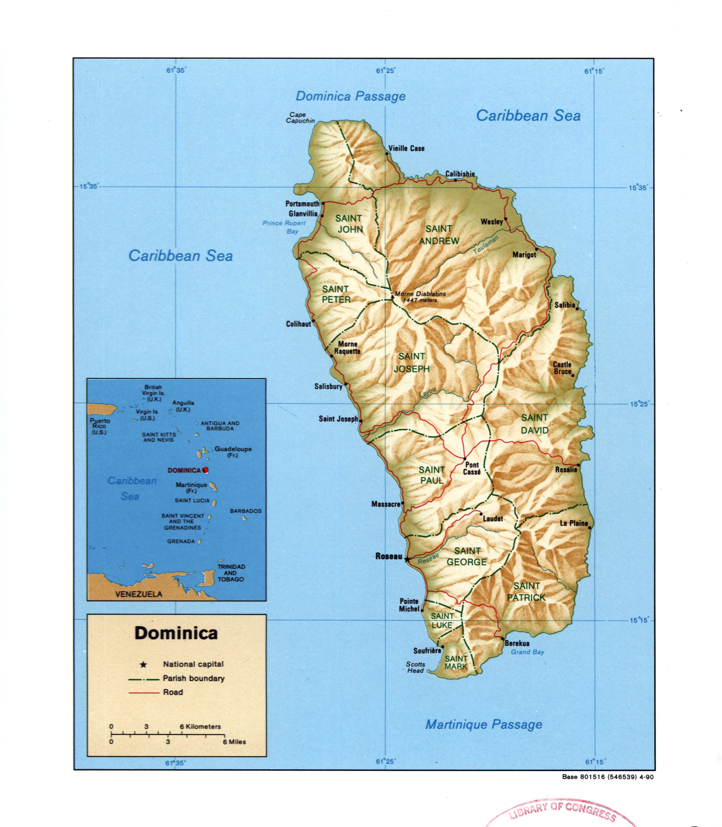 Large detailed political and administrative map of Dominica with