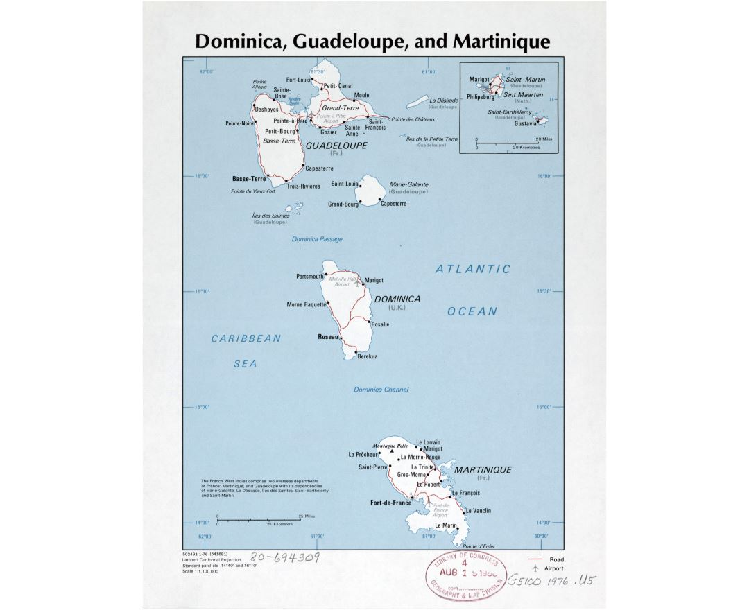 Large detailed political map of Dominica, Guadeloupe and Martinique with roads, major cities and airports - 1976