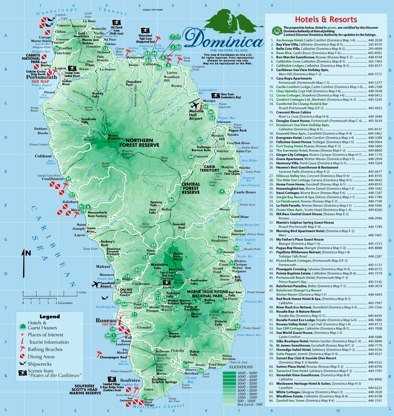 Large detailed tourist map of dominica dominica north america large detailed tourist map of dominica sciox Images