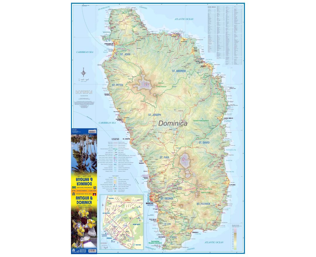 Large detailed travel map of Dominica