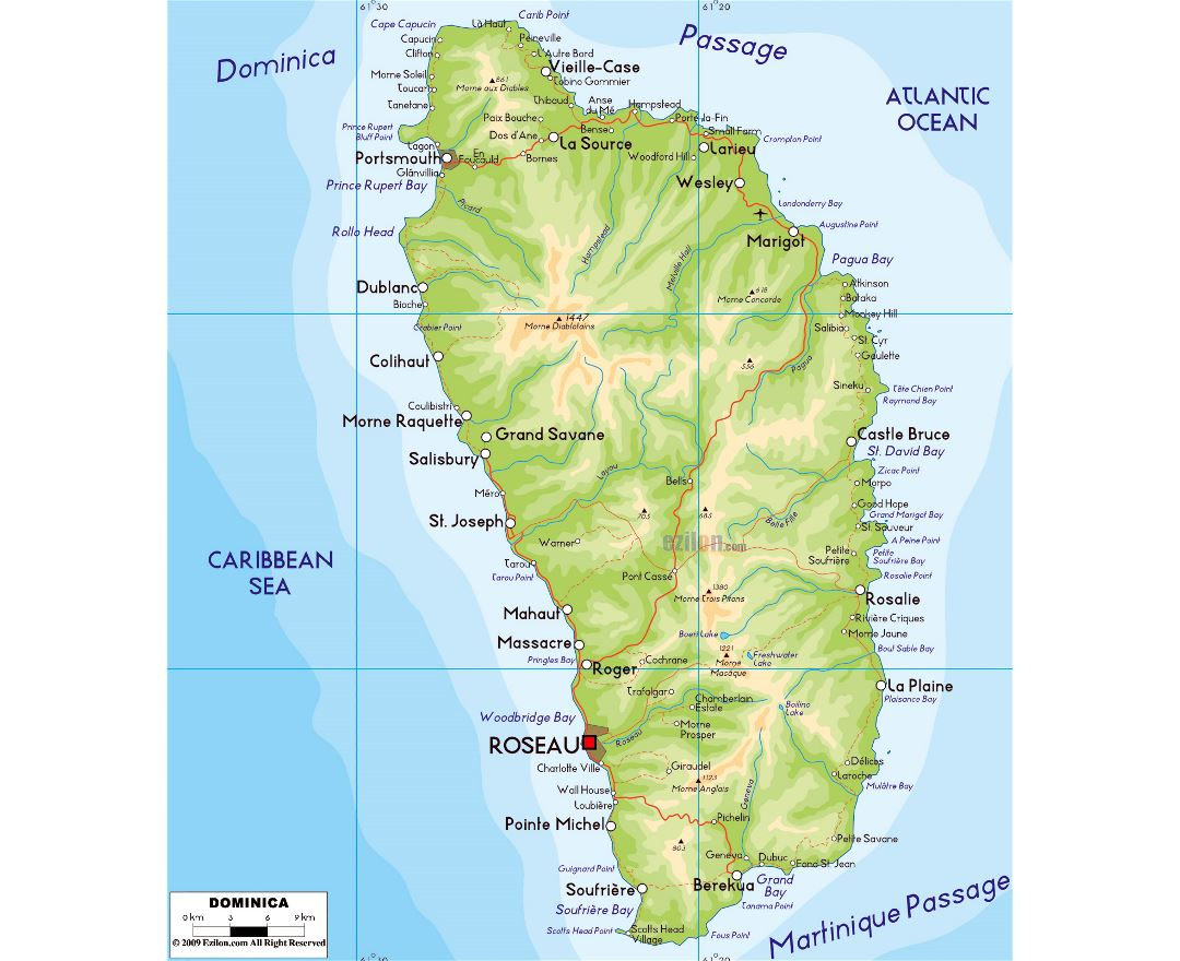 Large physical map of Dominica with roads, cities and airports